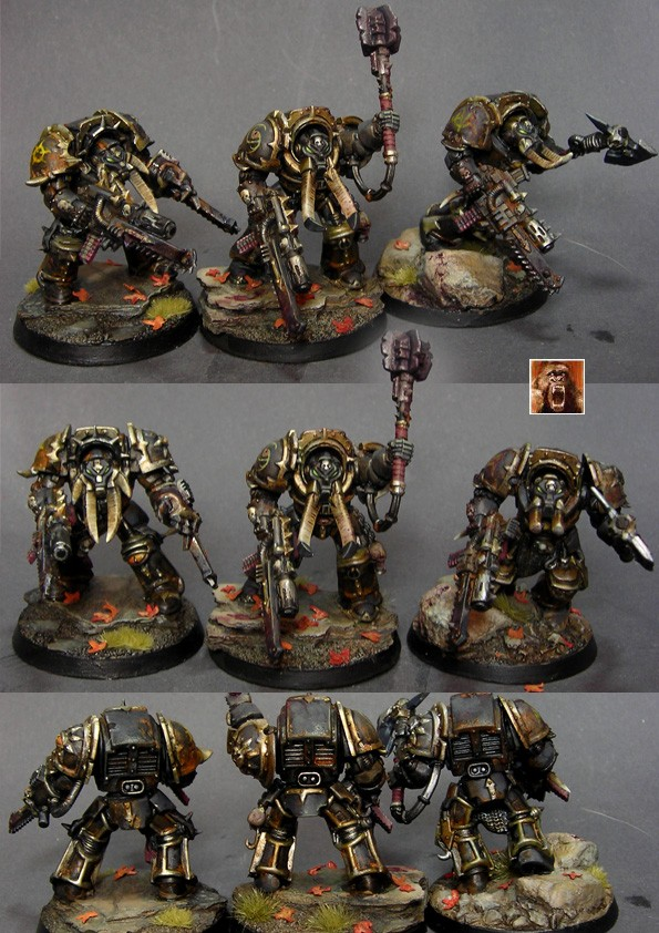 3 Chaos Space Marine Terminators - Black Legion