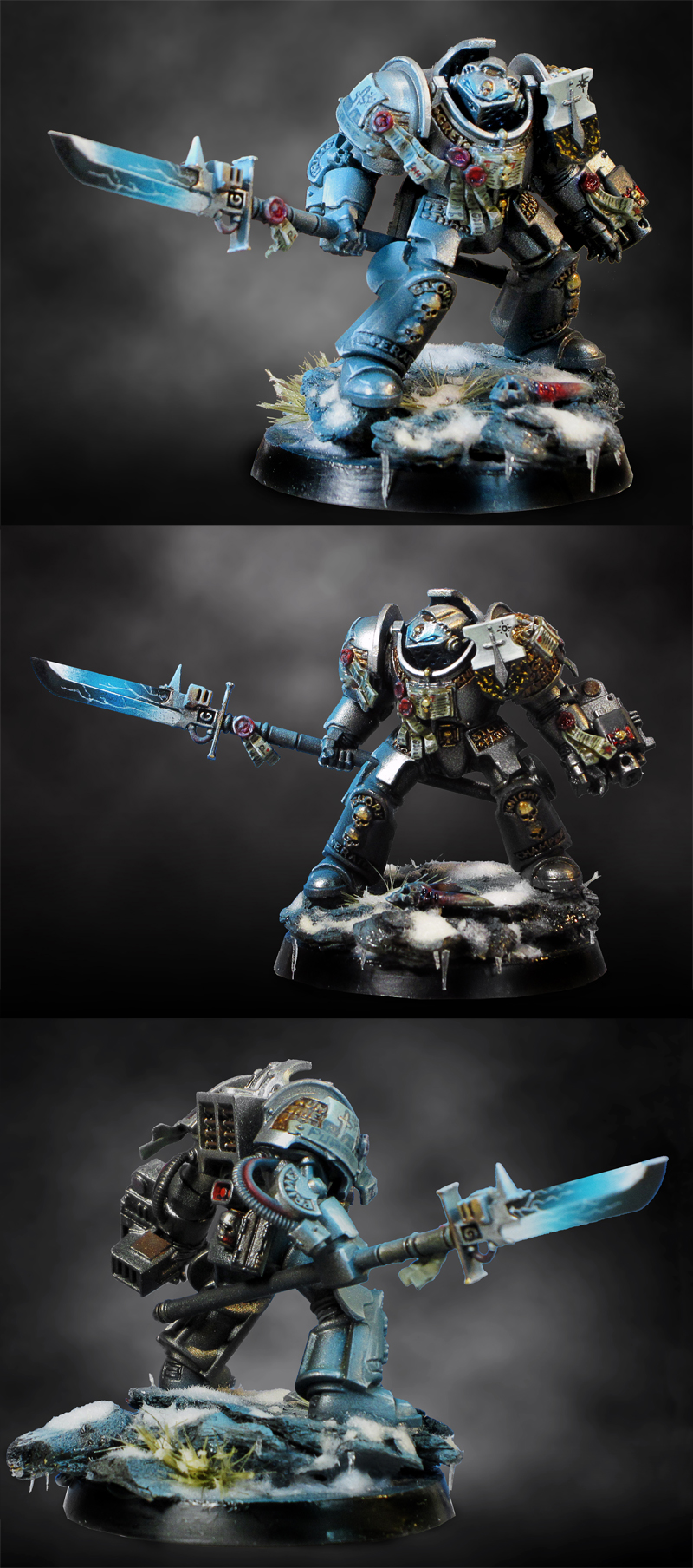 Airbrushed Grey Knight, with OSL, Ice and Snow - Article Tutorial linked too