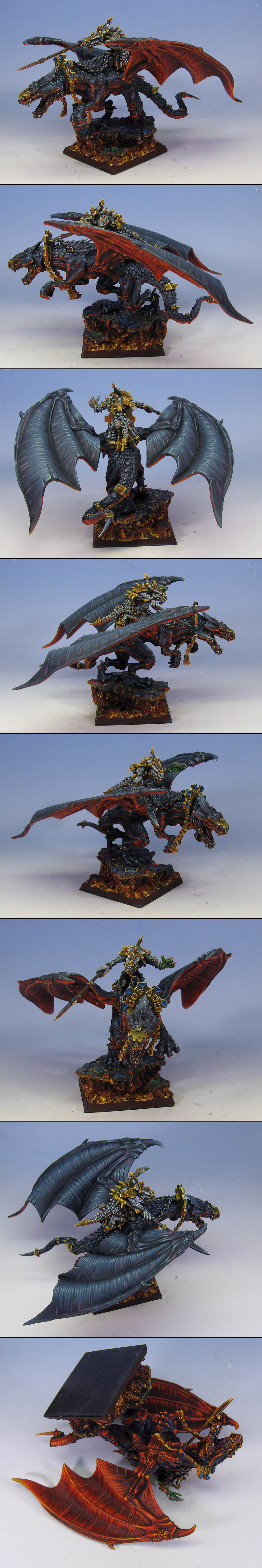 Winged Carnosaur on sculpted base with lava effects