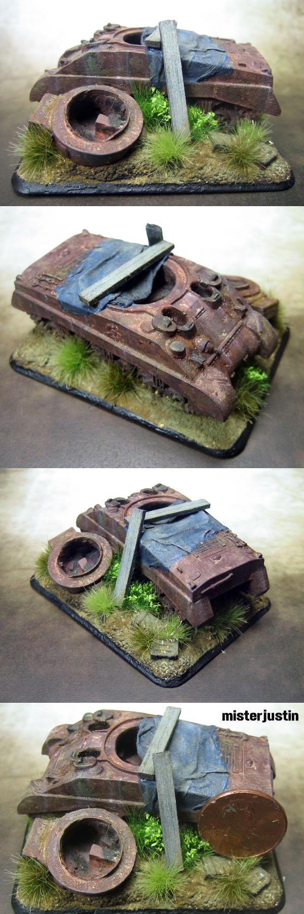 Flames of War 1:100 Destroyed Sherman Tank