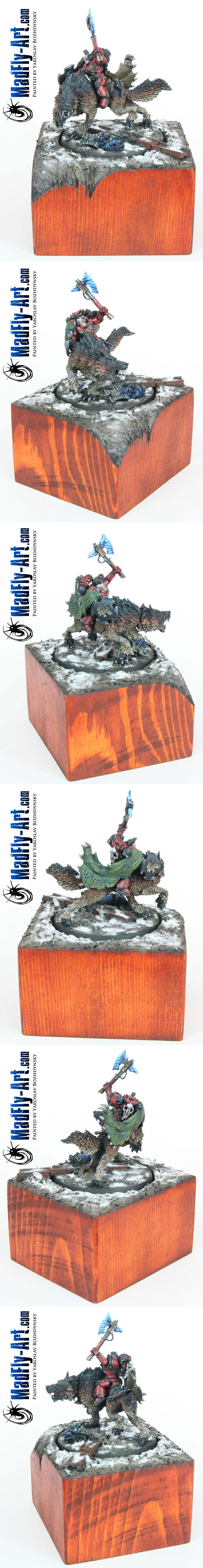 Wolf Lord on Thunderwolf (Red Style, with plinth)