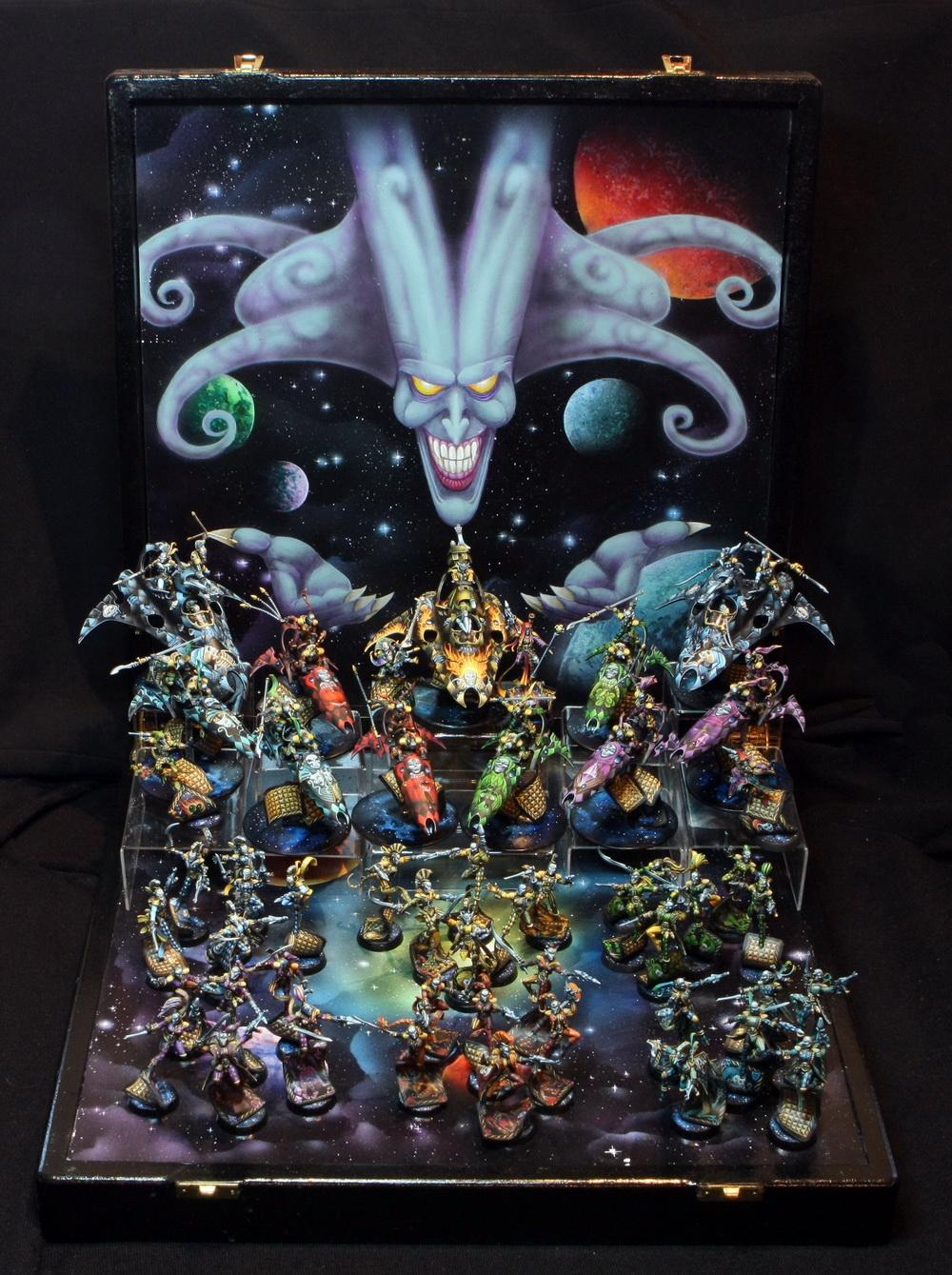 Harlequin army on display board