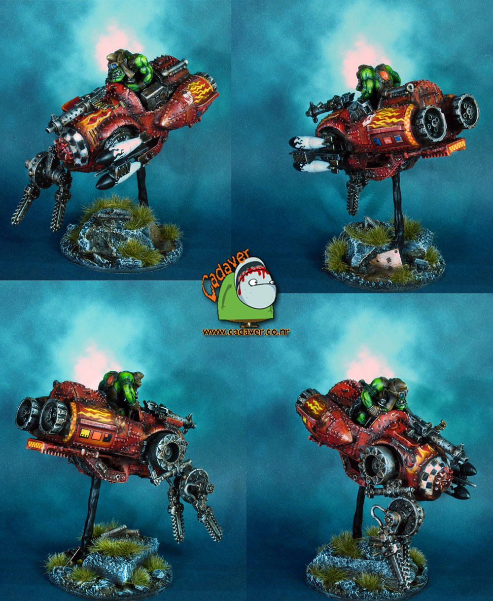 Space Ork Evil Sunz Mek on deff-jetbike