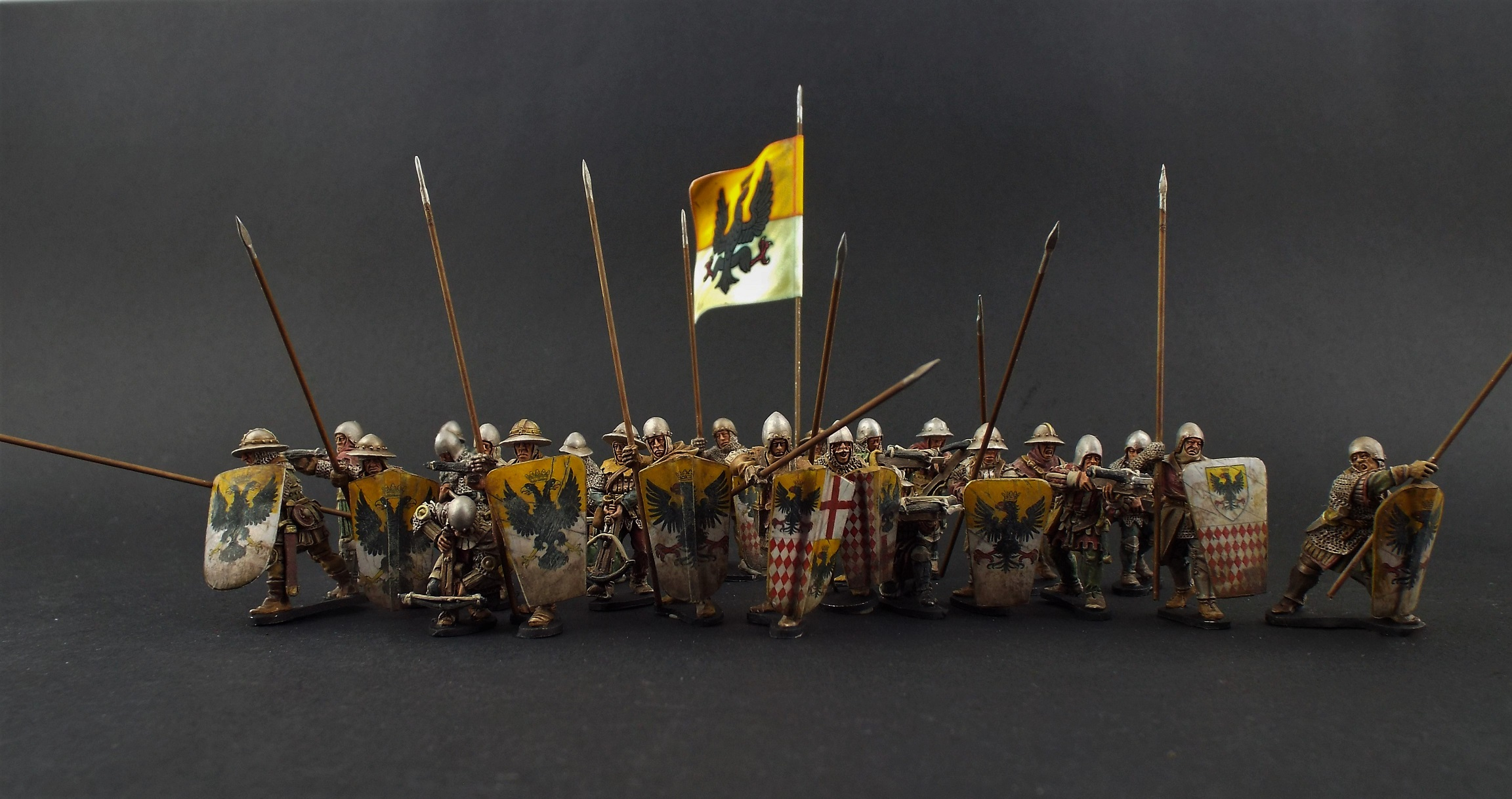 28mm Claymre Castings  French Mixed Unit Crossbows/Pavise