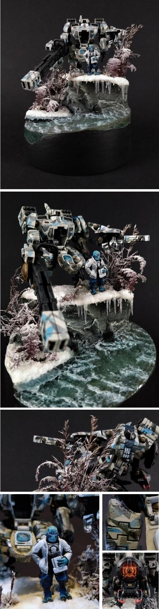 Diorama of Tau broadside battlesuit