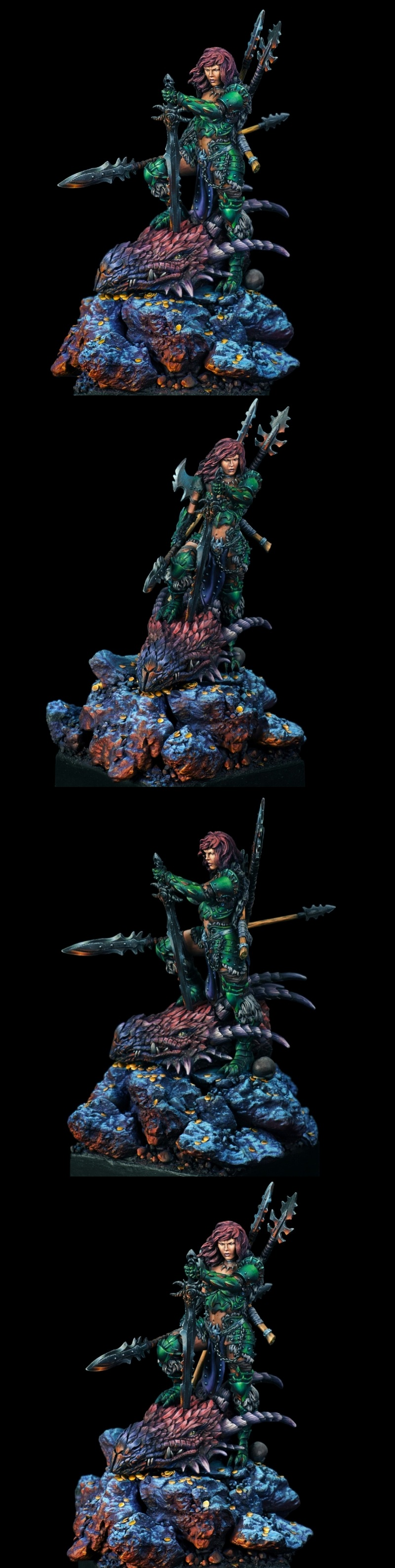 Emerald & Ruby, Dragon Huntress- Black Sun Miniatures