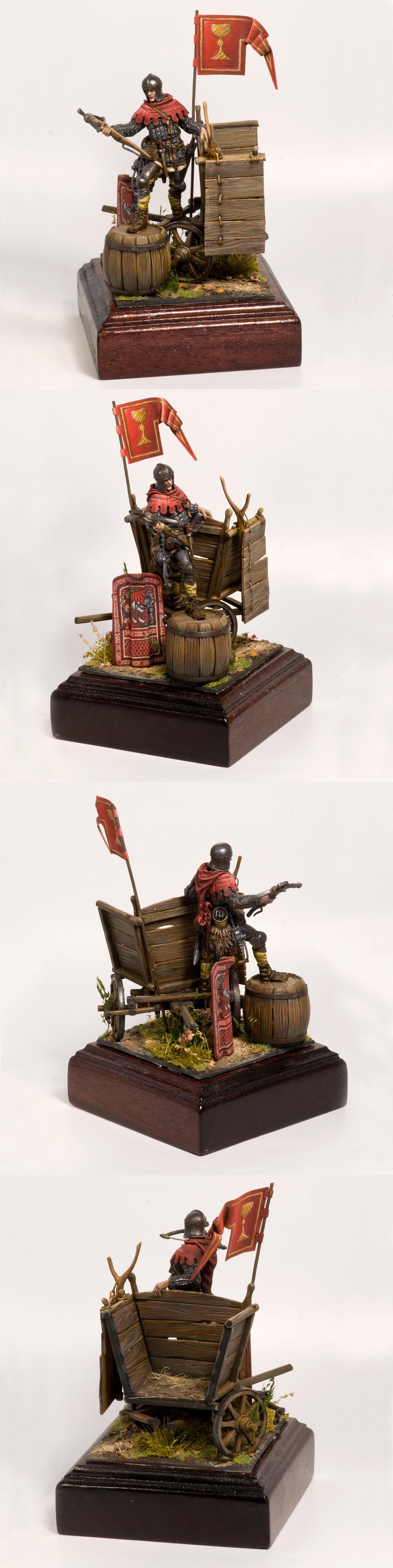 15-century Сrossbowman Hussite on battlewagon