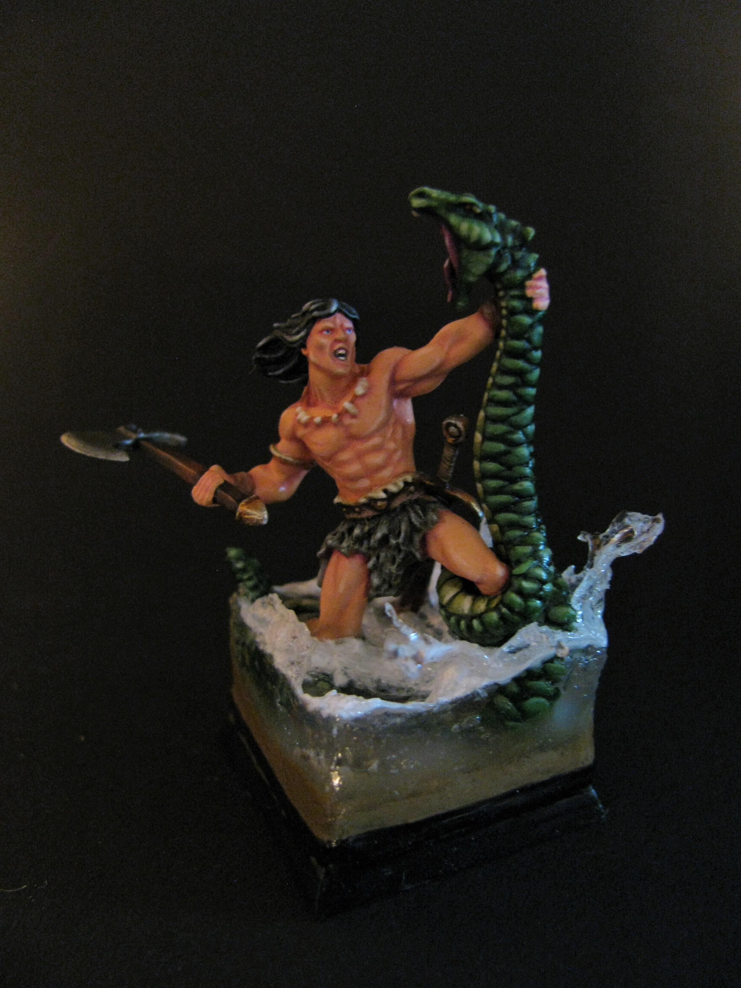 Conan fighting a watersnake