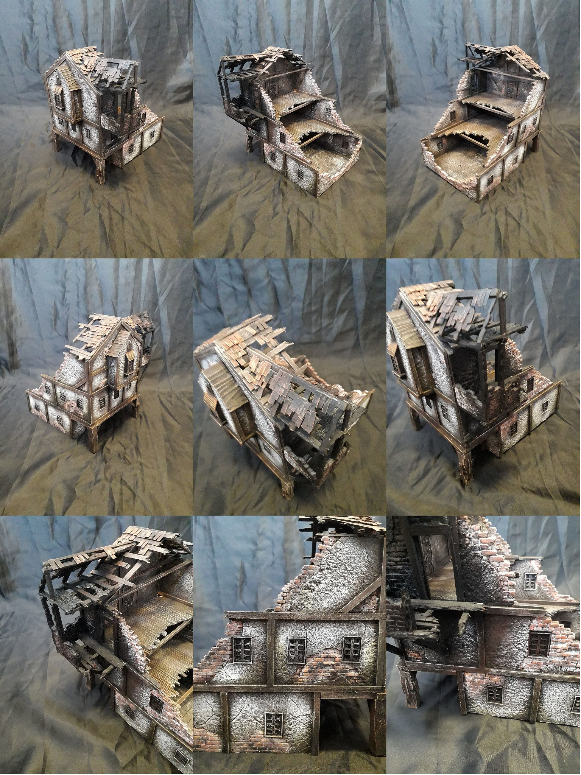 scratchbuilt fire damaged house