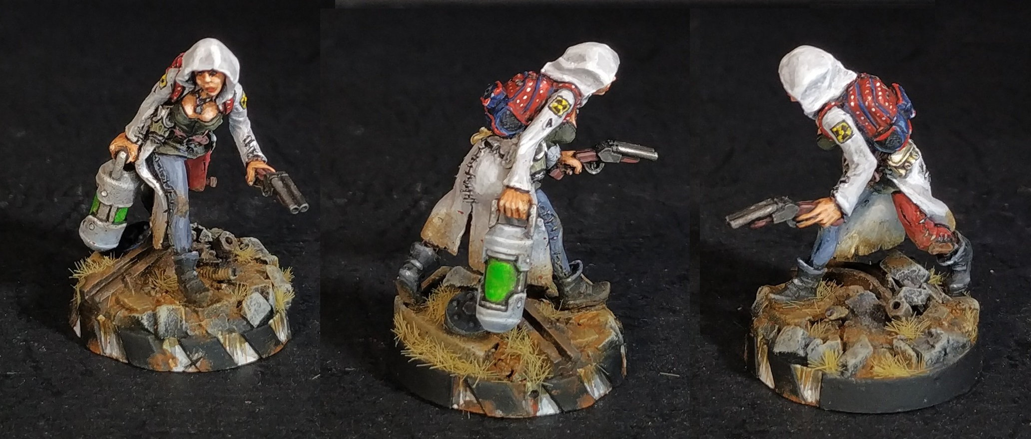 Looter with stolen test-tube for Gang of Wastelanders Afterglow Miniature Game.