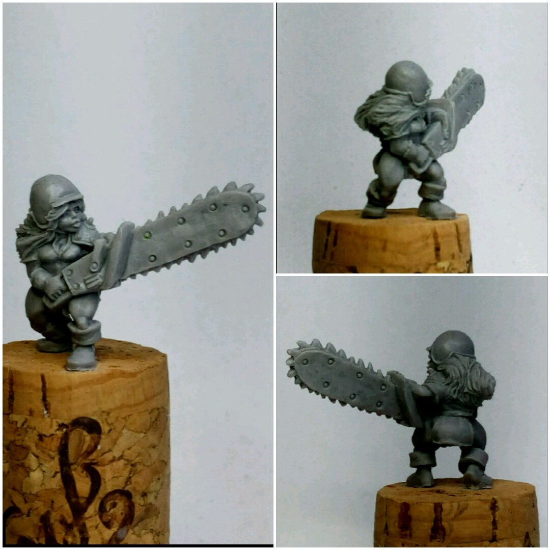 Dwarf girl with chainsaw, more pictures.