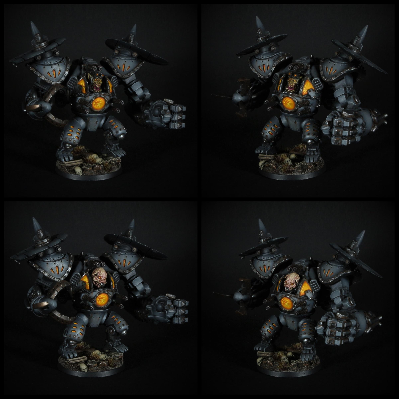 Warhammer 40k maxmini Ork Warboss in Mech Armor, alternative head swaps