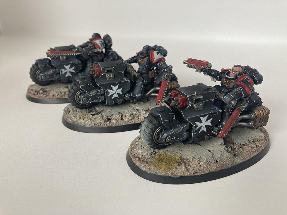 Painted Black Templars bike squad