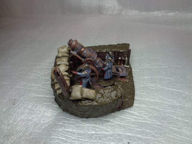 death korps of krieg heavy mortar & crew on diorama base