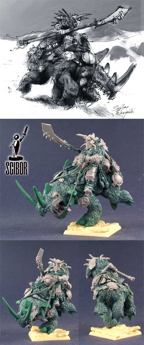 OGRE KINGDOMS Ogre Tyrant on Rhinox - converted