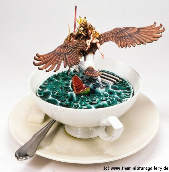 Thunderbolt Mountain Miniatures,  Griffon Rescue, built into a real cup!